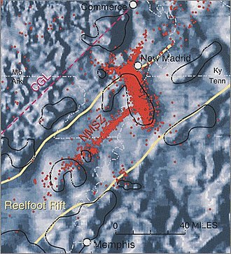 New Madrid Seismic Zone - Magnetic potential map of the Reelfoot Rift