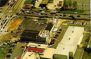 1998 Dunwoody tornado - Cobb Parkway (upper left) at Windy Hill Road (top), looking southeast
