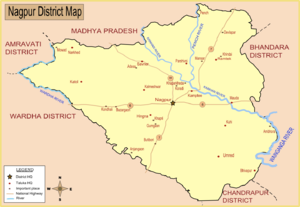 Nagpur district - Map of Nagpur district with major towns and rivers.
