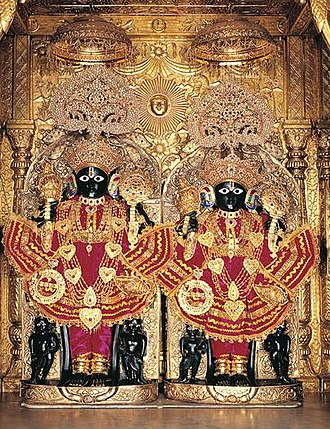 Nara-Narayana - The twin form of Nara Narayana Deva at the Swaminarayan Temple Ahmedabad