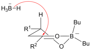 Narasaka–Prasad reduction - Transition state for the Narasaka–Prasad reduction showing the reasons for the observed diastereoselectivity