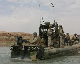 United States Navy Riverine Squadron - US Navy RIVERINE SQUADRON 1 along with US Marines patrol Euphrates River in Iraq