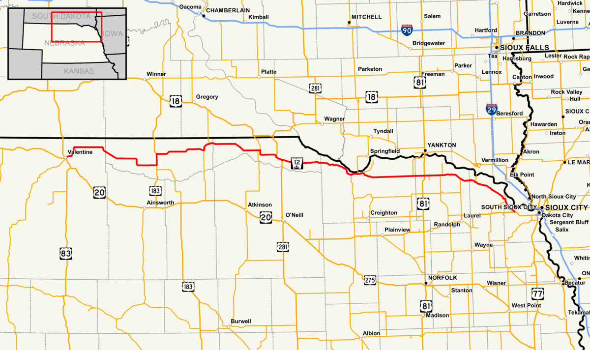 Nebraska Highway Wikipedia - Roadmap of nebraska
