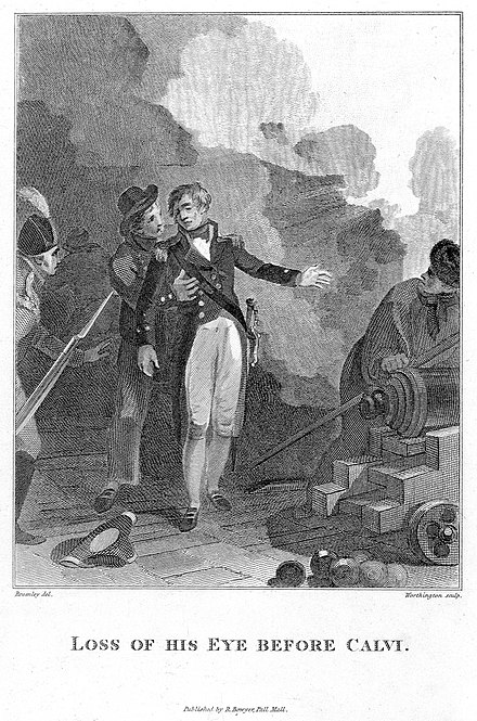 Loss of his Eye Before Calvi, 1808. Print depicting the wounding of Nelson during the siege. NMM. Nelson at Calvi.jpg