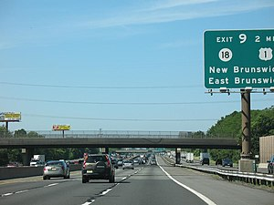 New Jersey Turnpike, southbound, near Exit 9.