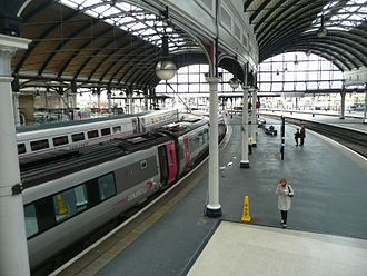 Newcastle railway station - East Coast and CrossCountry trains at opposite platforms