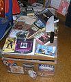 Ngaio Marsh books on trunk, December 2005.jpg