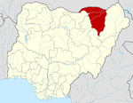 Map of Nigeria highlighting Yobe State