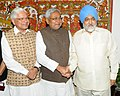 Nitish Kumar meeting the Deputy Chairman, Planning Commission, Shri Montek Singh Ahluwalia, for finalizing plan size for 2012-13 for the State, in New Delhi. The Minister of State for Planning.jpg