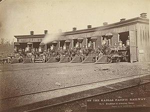 Kansas Pacific Railway - Roundhouse, Kansas Pacific Railway, 1873.