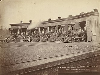 Kansas Pacific Railway - Roundhouse, Kansas Pacific Railway, 1873.
