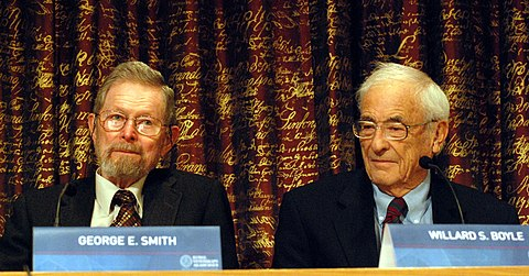 The charge-coupled device was invented by George E. Smith and Willard Boyle Nobel Prize 2009-Press Conference KVA-19.jpg