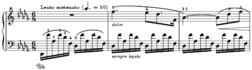 Inicio de Nocturno en re bemol mayor Op.27 nº 2 para piano de Frédéric Chopin.