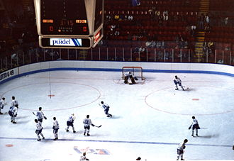 Quebec Nordiques - The Nordiques warming up before a game in 1986.