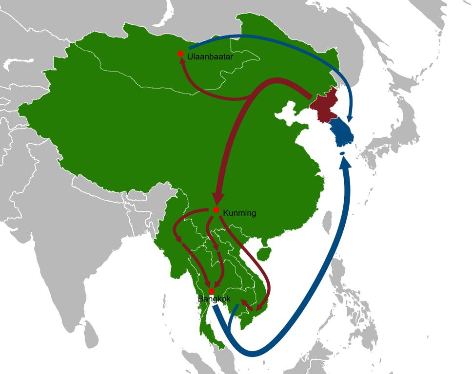 North Korean defector routes map