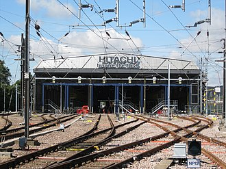 North Pole depot - The exterior of Hitachi Rail's North Pole Train Maintenance Centre, West London, in August 2014