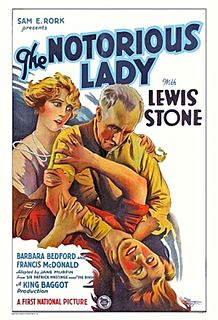 <i>The Notorious Lady</i> 1927 film by King Baggot