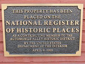 Automobile Alley - NRHP plaque