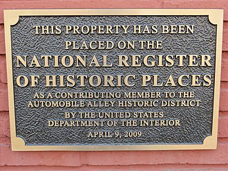 Automobile Alley (Oklahoma City, Oklahoma) - NRHP plaque