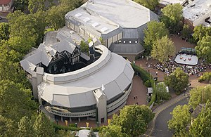 "Oregon Shakespeare Festival - Aerial view of Elizabethan and Bowmer Theatres during a ""Green Show"" (see below)"