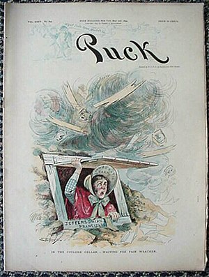 "Metaphor - A political cartoon from an 1894 ''Puck'' magazine by illustrator S.D. Ehrhart, shows a farm woman labeled ""Democratic Party"" sheltering from a tornado of political change."