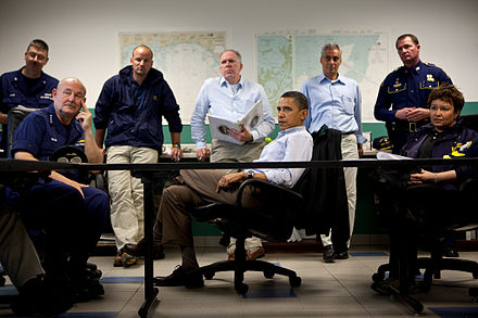 Obama at a 2010 briefing on the BP oil spill at the Coast Guard Station Venice in Venice, Louisiana Obama-venice-la.jpg
