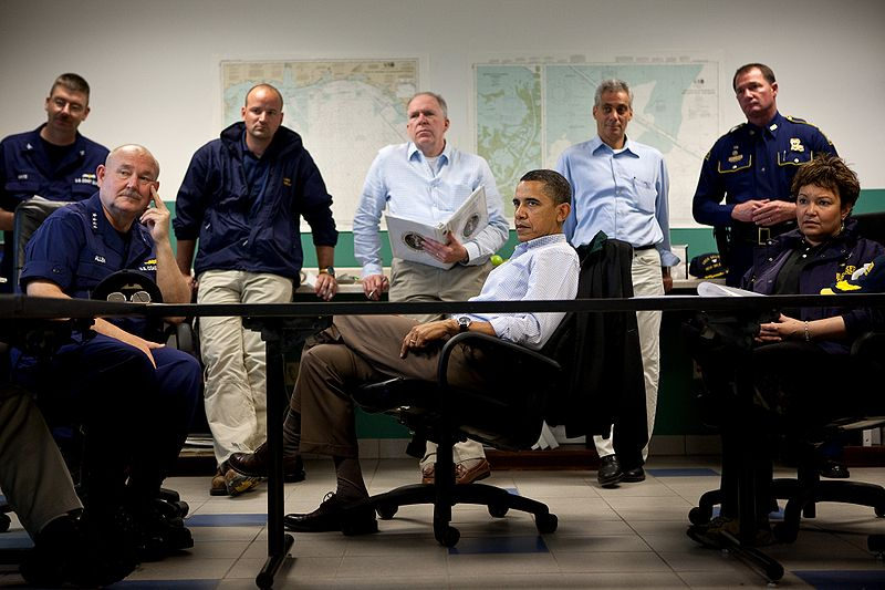 File:Obama-venice-la.jpg Description 	 English: President Barack Obama listens during a briefing about the situation along the Gulf Coast following the BP oil spill, at the Coast Guard Venice Center, in Venice, La., Sunday, May 2, 2010. Pictured, from left, are U.S. Coast Guard Commandant Admiral Thad Allen, John Brennan, assistant to the President for homeland security and counterterrorism, Chief of Staff Rahm Emanuel, and EPA Administrator Lisa Jackson. Date 	2 May 2010 Source 	https://www.flickr.com/photos/whitehouse/4673019506/ Author 	Official White House Photo by Pete Souza