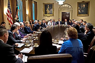Obama meets with the Cabinet of the United States, November 23, 2009. Obama cabinet meeting 2009-11.jpg