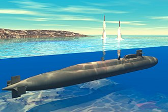 Ohio-class submarine - Artist's concept of an Ohio-class SSGN launching Tomahawk Land Attack Missiles.