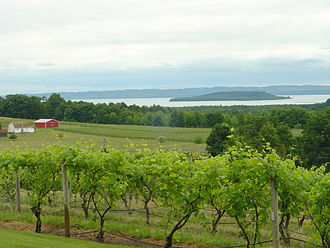 Peninsula Township, Michigan - View from Chateau Chantal Winery overlooking Marion Island in the West Arm of Grand Traverse Bay