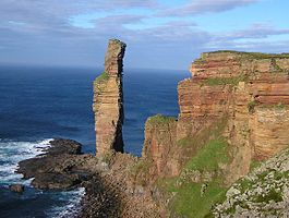 The Old Man of Hoy, at the western side of the island, seen from the south