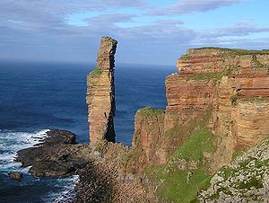 Hoy - The Old Man of Hoy, at the western side of the island, seen from the south