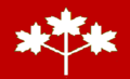 Ontario flag proposal 3 white ML on red field.png