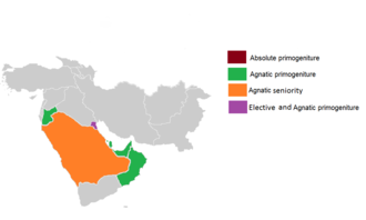 Middle Eastern monarchies by succession: Absolute primogeniture Elective and Agnatic primogeniture Agnatic primogeniture Agnatic seniority Male-preference primogeniture Order of succession (Primogeniture) in Middle Eastern monarchies.png