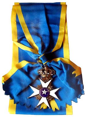 Order of the Polar Star - Cross and riband of a Commander Grand Cross