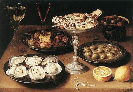 "Osias Beert, Still life with oysters, c. 1610. Staatsgalerie, Stuttgart. Beert's still lifes are typical of the ""breakfast"" type painted early in the 17th century. Osias Beert - Oysters 1610.jpg"