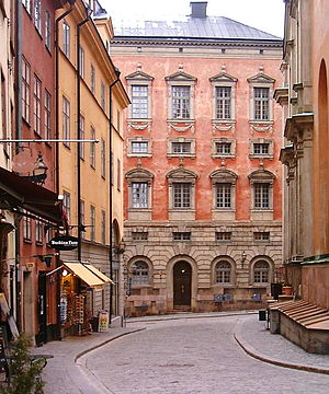 Trångsund, Stockholm - Facade of the Oxenstierna Palace, one of the most well-preserved palaces in the old town.