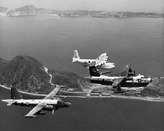 No. 490 Squadron RNZAF - A RNZAF Sunderland MR.5 with a USN Martin P5M Marlin and a RAAF Lockheed P-2 Neptune in 1963.