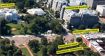 Aerial view, with the White House diagonally across from the President's Guest House