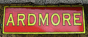 Ardmore station (Pennsylvania) - Trompe-l'oeil replica of PRR-era Ardmore train station sign.