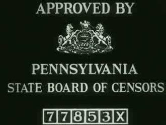 Pennsylvania State Board of Censors - This screen was inserted into all films to be shown in Pennsylvania, each with a specific number. This one belonged to Thru Traffic (1935) and was shown as the last frame of the film.
