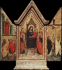 Crucifixion, Madonna, and saints
