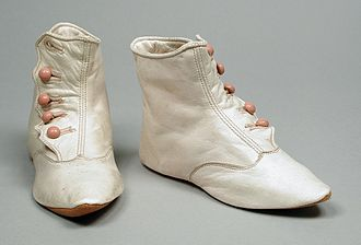 Kidskin - Pair of infant's kidskin boots, 1890s. LACMA, M.54.21.4a-b