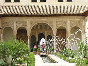 Arab Agricultural Revolution thesis - Islamic Golden Age innovation: the Moors brought a new architecture, including gardens with water engineering, as in the Alhambra's Generalife Palace, to Al-Andalus.