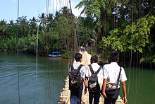Bamboo Bridge near Green Canyon, Pangandaran