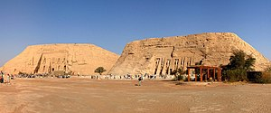 Abu Simbel temples - The Great Temple of Ramesses II is on the left and the Small Temple of Nefertari is on the right.