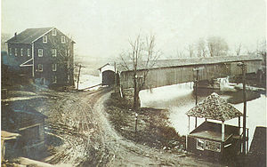Bridgeton Covered Bridge - Image: Parke bridgeton postcard 1900 780