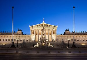 Austrian Parliament Building - Parliament Building at night