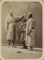 Pastimes of Central Asians. Three Men, Including Two Maskhara-bāzūs, or Entertainers, with Painted Faces and Artificial Beards WDL10818.png