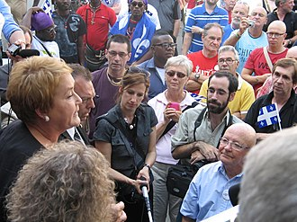 Pauline Marois - Pauline Marois addresses a crowd of supporters in Quebec City on the eve of the 2012 general election.